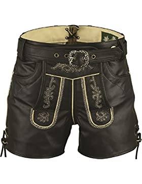 Lederhose mit Gürtel, echt Leder Retro Trachten Lederhose Herren kurz, Trachtenlederhose mit Gürtel Herren in...