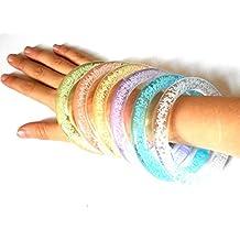 PRESKIN – LED Armreif Set (5 Stück), leuchtender Armring, Party Armband, bunt blinkender Schmuck für Rucksack, Fahrrad, Kind und Hund