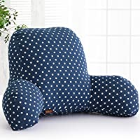misslight Luxus Reading Pillow Chair Bed Support Cushion Bed Back Rest Lumbar Cushion T-Shape Cotton Insert (L, Blue point)