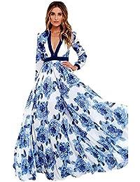 Mujer Vestido Largo Boho, Holacha Vestido de manga larga Cuello V Patron de Flor Elegante