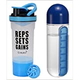 Exclusive Combo Offer - IShake Brawny Plastic Shaker Bottle (Blue) + Water Bottle With Pill Organizer (Blue)