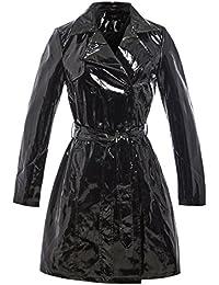 SS7 Womens Patent Trench Coat Raincoat Ladies Mac New Size 8 10 12 14 16 Black