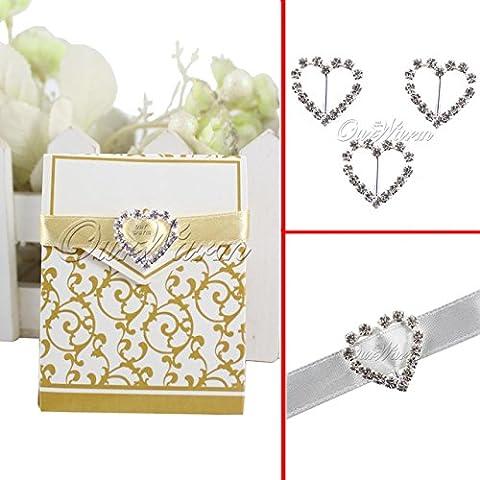 Las nuevas 10 PC Corazón Diamante cristalino claro de la hebilla del Rhinestone invitación de la cinta deslizante 15 * 15mm