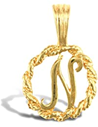 Jewelco London Solid 9ct Yellow Gold Rope Identity Initial Charm Pendant Letter N