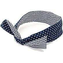 GIZZY de baño de mujer azul marino diseño de chicas deportistas de azul y de color blanco lazo en cuadro de atril y de lunares 100% auriculares de diadema con micrófono Tie algodón para el cabello para flexibles.