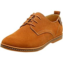 Fangsto hombre Classic Suede Leather Oxfords Flats zapatos LACE-UPS