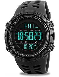Montre de sport numérique pour homme - Décontractée - Militaire - Électronique - Tendance - De course - Étanche - Avec calendrier, chronomètre et alarme - Noir