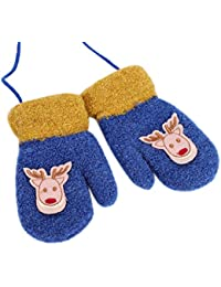 3936c38b8c85b Gants Enfant Hiver Moufles Épaisses Gants de Ski Gants en Tricot Polaire  Gloves Motif Renne Mignon