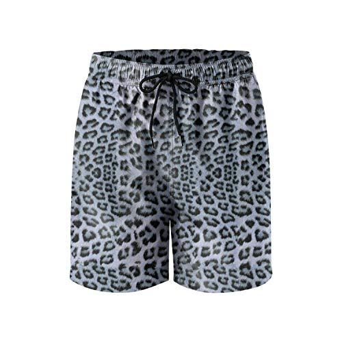 Custom Leopard Cheetah Print Gray Black Brown Fashion Mens Beach Short,Size:Large