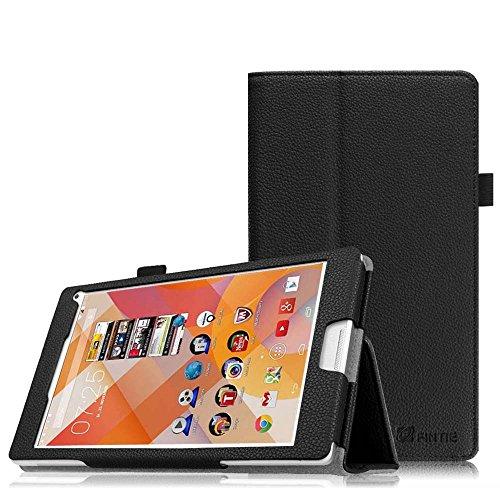 Fintie Medion Lifetab P8311 / P8312 / P8313 / P8314 / S8312 / S8311 Hülle Case - Folio Kunstleder Schutzhülle Tasche Cover Etui mit Ständerfunktion und Stylus-Halterung für MEDION LIFETAB P8311 (MD 99443) P8312 (MD 99334) / P8313 / P8314 (MD 99612) / S8312 (MD 98989) / S8311 (MD 98983) Tablet-PC (8 Zoll), Schwarz