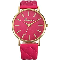 WINWINTOM Women Roman Leather Quartz Wrist Watch Hot Pink