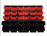 Lüllmann Lagersichtkästen Set 32-tlg. Werkstatt Wandregal Stapelboxen 607700 Lagerregal Stapelboxen Regal erweiterbar