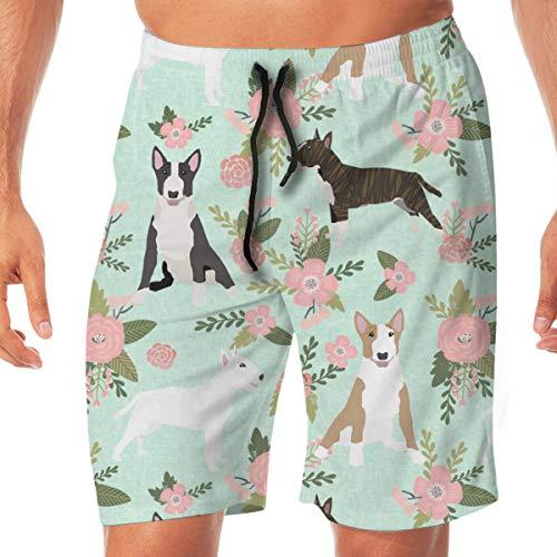 DDOBY Bull Terrier Pet Quilt D Hunderasse Stoff Quilt Coordinate Floral_438 Männer Badehose surfen Strand Urlaub Party Badeshorts Strandhosen XXL -