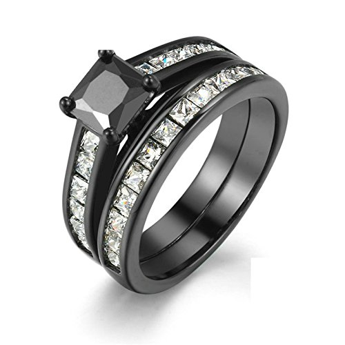 Beydodo Versilbert Ring Damen Schwarz Weiß Zirkonia Verlobungsring -