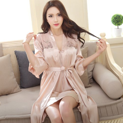 hoom-long-sleeved-robe-summer-nightgown-female-two-piece-silk-and-sexy-lace-womanxxlchampagne