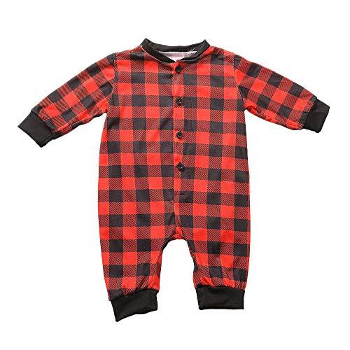 (sunnymi für 0-5 Jahre Baby Kinder Weihnachten Strampler Langarm Gitter Familien Nachtwäsche (6 Monate, Rot Baby))