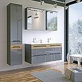Lomadox Badezimmer Doppel-Waschtisch Set ● Hochglanz Graphit mit Wotaneiche ● 2X 60cm Waschtisch-Unterschrank mit Keramik-Waschbecken ● 2 LED-Spiegelschränke & Hochschrank