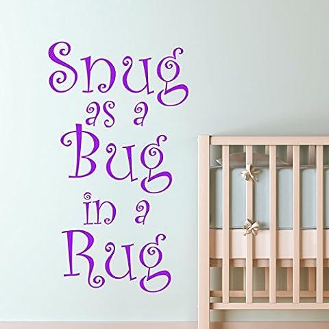 SNUG AS A BUG IN A RUG KIDS NURSERY WALL STICKER... Words/QuotesAdesivi da parete / decalcomanie / trasferimenti / adesivi murali - Bug Snug Nursery