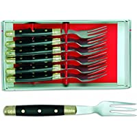 Sonpó Online - Modelo ALB6TCHNE - Estuche de 6 tenedores chuleteros de mesa - Mango de