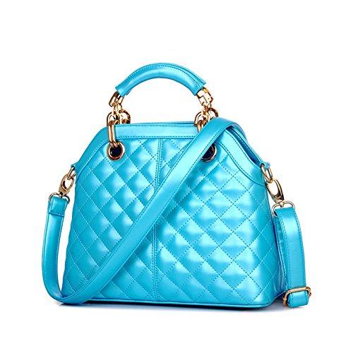 Molly Da Donna Diamante Modello Puro Colore PU Borsetta La Spalla Diagonale Borsa Luce Blu Piccolo
