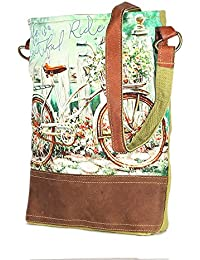 Bicyle Print Leather And Canvas Tote Shoulder Bag Stylish Shopping Casual Bag Foldaway Travel Bag