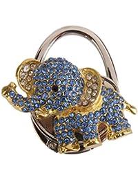 Mesa Bolso Plegable Bolsa De Diamantes De Imitacion Elefante Azul Titular De Gancho Del Bolso Percha