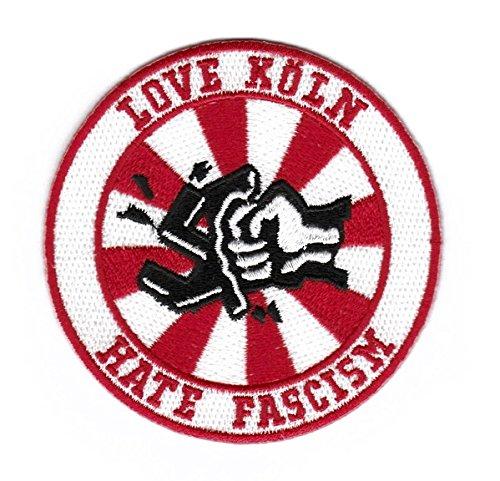 Köln Aufnäher/Bügelbild/Abzeichen/Iron on Patch Love Köln - Hate Fascism