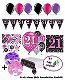 Celebrazioni solidi per 21compleanno I completo 31pezzi set di decorazioni rosa nero viola con palloncini I decorazione festa Happy Birthday 21