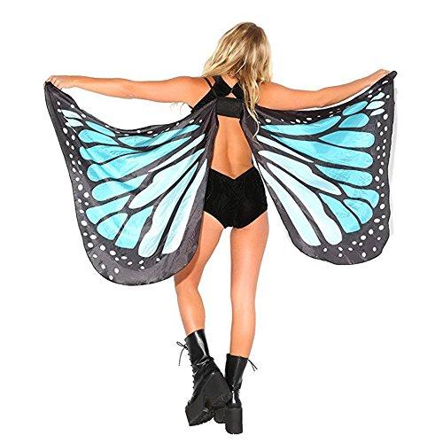 Damen Sexy Butterfly-förmige Strandponcho Sommer Überwurf Kaftan Strandkleid Bikini(Blau) (Butterfly-kaftan)