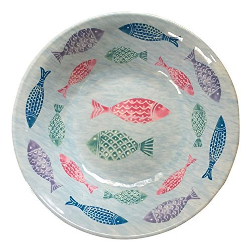 Cynthia Rowley Tropical Fish Blue Melamine Soup/Cereal Bowls, Set of Four by Cynthia Rowley