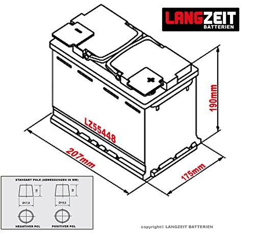 LANGZEIT Autobatterie 12V 54Ah ersetzt 44AH 45AH 46AH 50AH 52AH 53AH 55AH LANGZEIT Autobatterie 12V 54Ah ersetzt 44AH 45AH 46AH 50AH 52AH 53AH 55AH