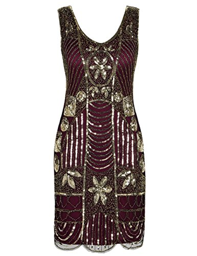 kayamiya Damen Retro 1920er Perlen Pailletten Blatt Art Deco Gatsby Flapper Kleid 1X Gold ()