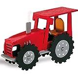 matches21 Holz Bausatz Traktor 18-tlg. 15,5x11cm Steckbausatz f. Kinder Holzbausatz