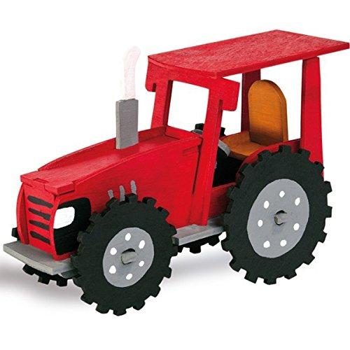 matches21 3D Traktor Bulldog Holz Bausatz 15,5x11 cm Kinder Holzbausatz Bastelset - Steckbausatz & Bemalen - ab 6 Jahren
