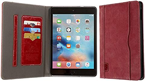 3Q Luxurious Tablet Cover Apple iPad Mini 4 Case iPad 4 Cover iPad 4 Premium Faux-leather inside outside Exclusive Fashion Design Booklet Sleeve iPad 4 mini Wallet Stand Card-Holder Red