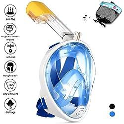 Q'rious Gadgets Masque de Schnorkel pour Plongée en Plein Visage 180°Vision Panoramique Anti-Brouillard et Anti-Fuite Snorkel Masque Compatible avec GoPro(Azur, L)