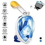 Q'rious Gadgets Schnorchelmaske Easybreath Vollmaske 180%, Full Face Frei Atmen Design Oberfläche Schnorcheln mit Anti-Fog und Anti-Leak Technologie Kompatibel mit GoPro Kamera, Blau-L/XL