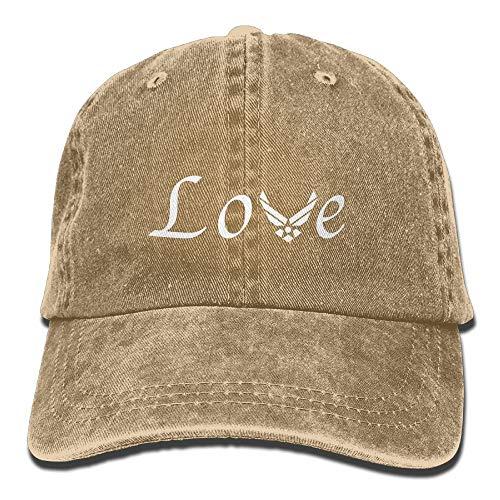 a69aa24f296 Wdskbg Love with Air Force Unisex Ajustable Algodón Denim Hat Lavado Retro  Gym Hat Cap Hat