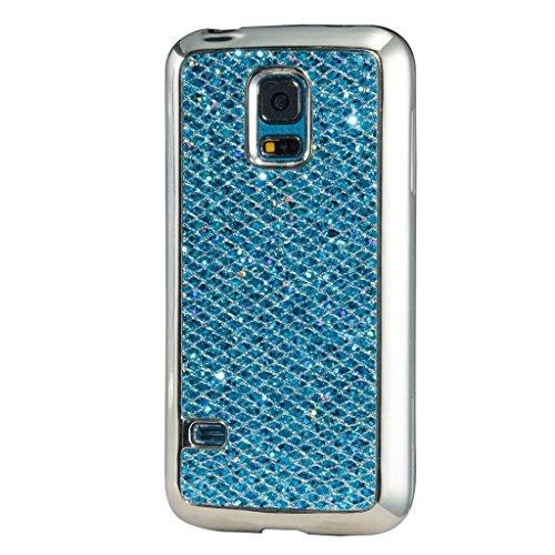 MUTOUREN Samsung Galaxy S5 Mini Hülle Überzug Plating Glitter Strass Hülle Luxus Glänzend Funkeln Bling Bling Plating Hard Hardskin Schutz Handy Hülle Case Tasche Case Schutzhülle Etui Bumper für Samsung Galaxy S5 Mini - Blau (Snap Leder Fühlen)