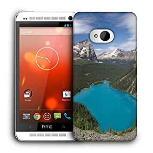 Snoogg Blue Water Between Mountain Printed Protective Phone Back Case Cover For HTC One M7