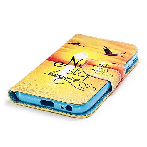 KM-WEN® Schutzhülle für Apple iPhone X (5,8 Zoll) Bookstyle Farbmalerei Serie Löwenzahn Muster Magnetverschluss PU Leder Wallet Case Flip Cover Hülle Tasche mit Standfunktion Kartenfächer für Apple iP Farbe-2