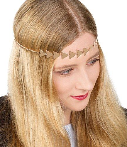 SIX Elastisches Damen Haarband, Kette mit 13 aneinander gereihten roségoldfarbenen Dreicken, Haarschmuck, Kopfband, Kopfkette (456-363)