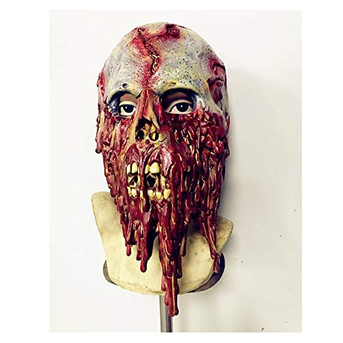 Weird Scary Mask Zombie Maske Ekelhaftes faules Gesicht Blutiges Gehen Toten Halloween Karneval Weihnachtsfeier Dekoration Latexmaske Bar Haunted House Filme und TV Requisiten Horror Party Maske ()