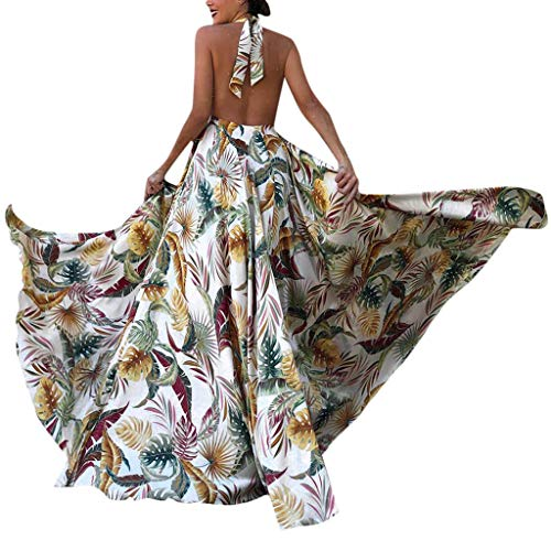 (Lady's dress-SIRIGOGO Women Sling Cross Summer Holiday Elegant Evening Beach Slim Hollow PrintDress, Spring Sale)