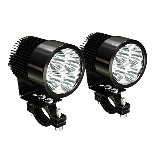 Motorrad LED Licht - TOOGOO(R)2 x Universal Motorrad Osram LED Front Punkt Licht Scheinwerfer Lampen 12 24V