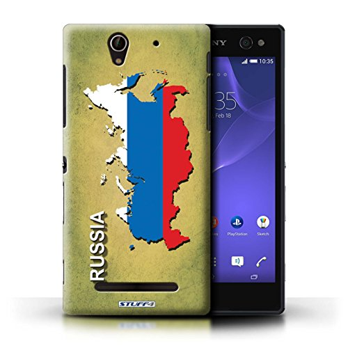 Kobalt® Imprimé Etui / Coque pour Sony Xperia C3 / Suisse/Swiss conception / Série Drapeau Pays Russie/Russe