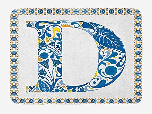 PdGAmats Letter D Bath Mat, Vibrant Colored Swirls and Flower Elements in Alphabet Artwork with Frame 23.6 W X 15.7W Inches -