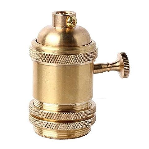 Gladle Douille légère en laiton en laiton Prise de support Edison E26 / E27 avec interrupteur ON / OFF