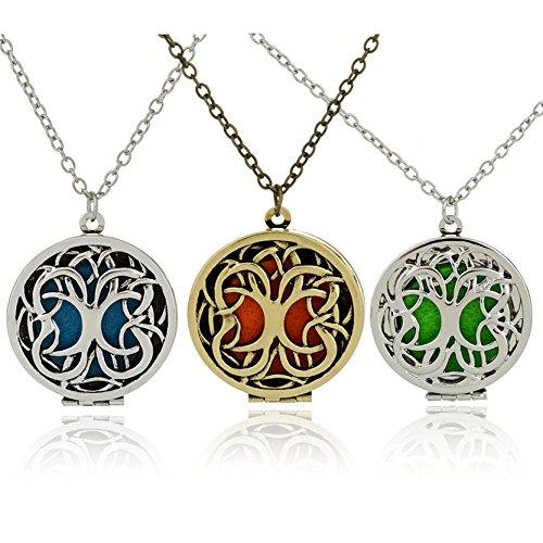 Medaillon Potter Harry Halskette (Damen Baum Halskette Kette Aromatherapie Öl Kette Halskette 7 Pads)