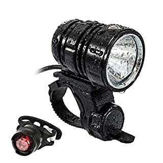 MOGZZi LED Bike Light Set, USB Rechargeable Bicycle Lights Bright Front 1200 Lumen LED Head Torch Headlamp Waterproof with Battery Pack and Free Safety Taillight Included